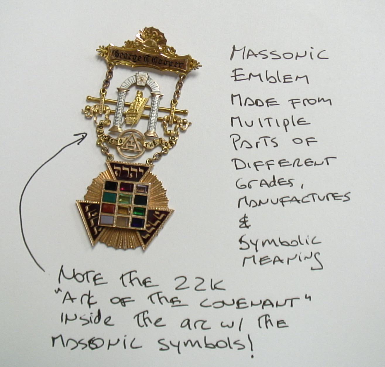 Gold masonic master priest jewel