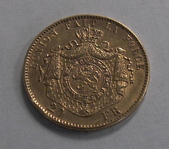20 Frank Belgium Gold Coin Reverse
