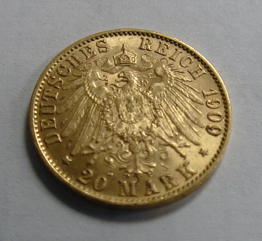 German 20 Mark Gold Coin Reverse