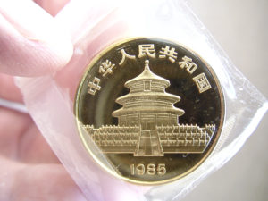 Chinese Panda Gold Coin Obverse