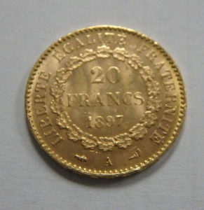 French 20 Franc Gold Coin Napoleon III Reverse