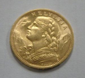 Swiss 20 Franc Gold Coin - Helvetia