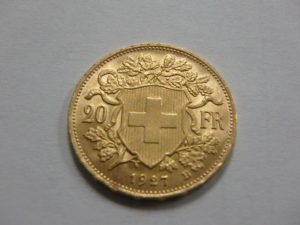 Swiss 20 Franc Gold Coin Reverse
