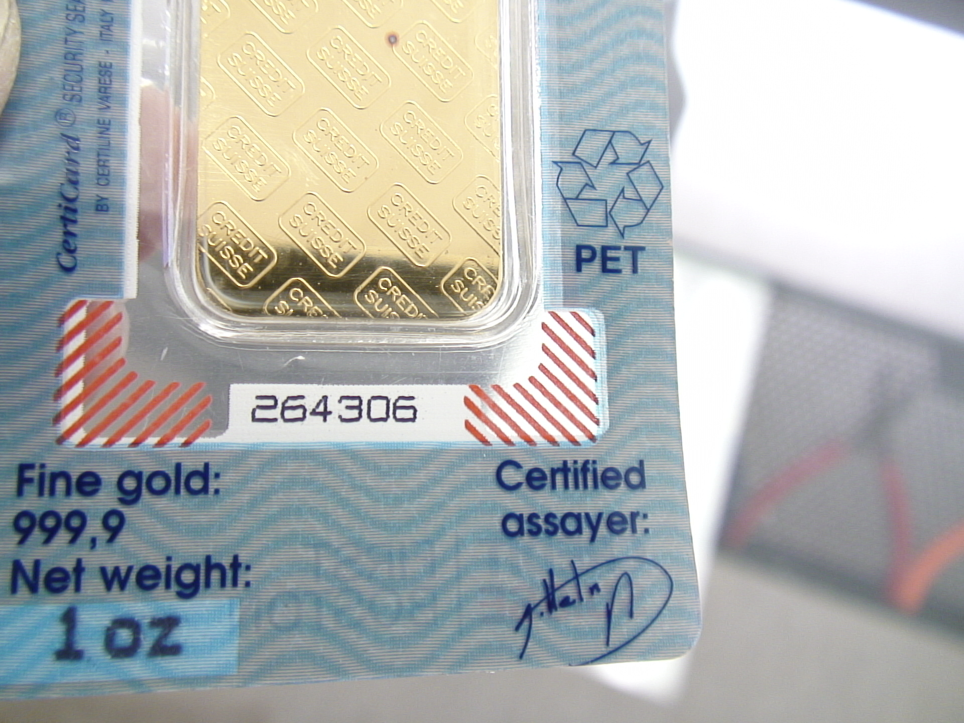 Credit Swiss Gold Bar - Portland